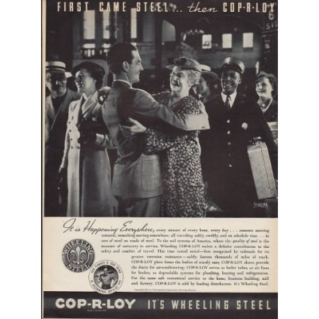 "1937 Cop-R-Loy Ad ""It's Wheeling Steel"""