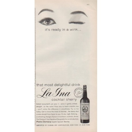"1959 La Ina Ad ""that most delightful drink"""