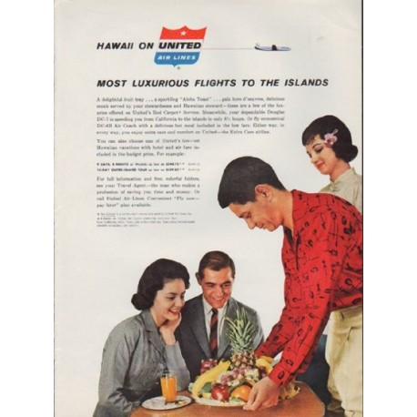 "1959 United Air Lines Ad ""Most Luxurious Flights To The Islands"""