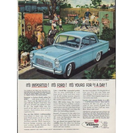 "1959 English Ford Line Ad ""It's Imported! It's Ford!"""