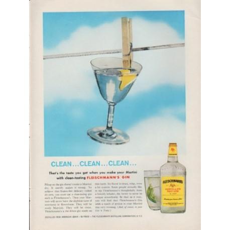 """1959 Fleischmann's Gin Ad """"Clean ... Clean ... Clean ..."""""""