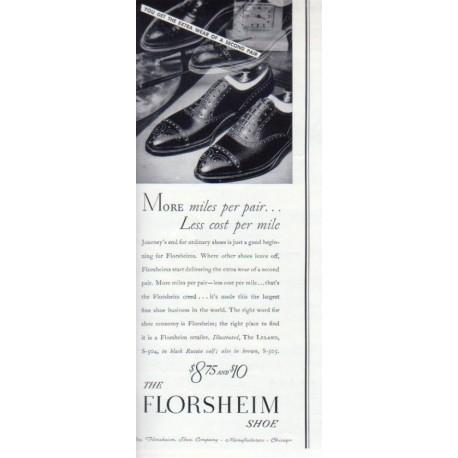 "1937 Florsheim Shoe Ad ""More Miles . . ."""