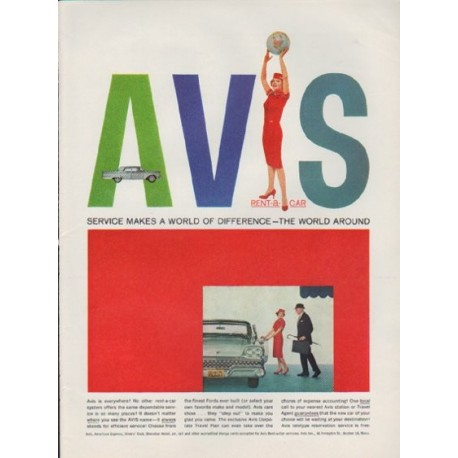 "1959 Avis Ad ""Service Makes A World Of Difference"""