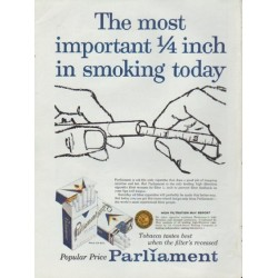 "1959 Parliament Ad ""The most important 1/4 inch in smoking today"""