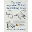 """1959 Parliament Ad """"The most important 1/4 inch in smoking today"""""""