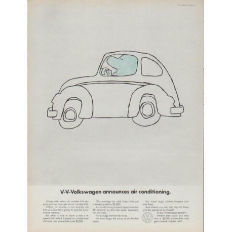 """1968 Volkswagen Ad """"V-V-Volkswagen announces air conditioning."""""""