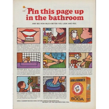 "1968 Arm & Hammer Ad ""Pin this page up in the bathroom"""