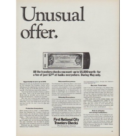 "1968 First National City Ad ""Unusual offer."""