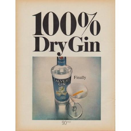 "1968 Calvert Gin Ad ""100% Dry Gin"""