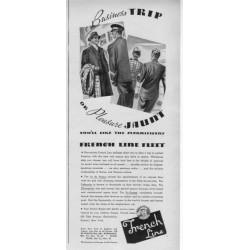 "1937 French Line Fleet Ad ""Business Trip Or Pleasure Jaunt"""