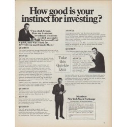"1968 New York Stock Exchange Ad ""How good is your instinct"""