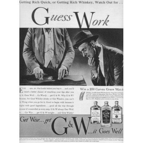 "1937 G & W Whiskey Ad ""Guess Work"""