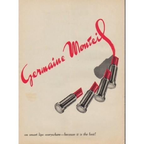 "1957 Germaine Monteil Ad ""on smart lips"""