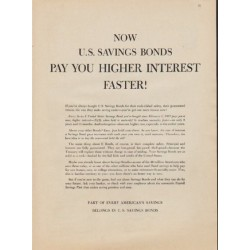 "1957 U.S. Savings Bonds Ad ""Pay You Higher Interest Faster!"""