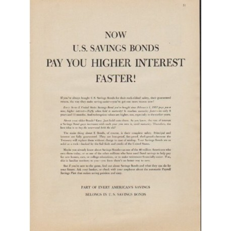 """1957 U.S. Savings Bonds Ad """"Pay You Higher Interest Faster!"""""""