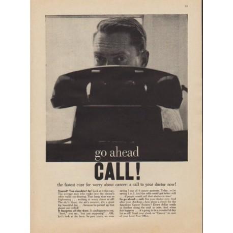 """1957 American Cancer Society Ad """"go ahead CALL!"""""""