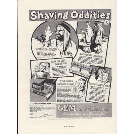 "1937 Gem Micromatic Razor Blades Ad ""Shaving Oddities"""