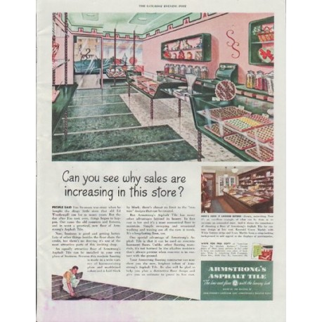 "1948 Armstrong Cork Company Ad ""sales are increasing"""