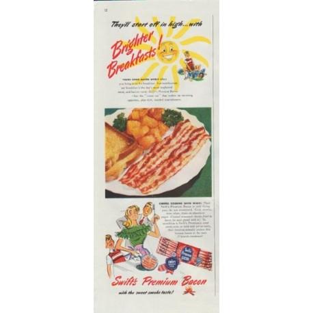 "1948 Swift's Premium Bacon Ad ""Brighter Breakfasts!"""