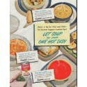"1948 Campbell's Soup Ad ""Let Soup Be Your One Hot Dish"""