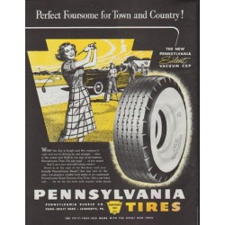 "1948 Pennsylvania Tires Ad ""Perfect Foursome for Town and Country!"""