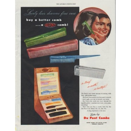 "1948 Du Pont Ad ""buy a better comb"""