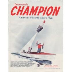 "1948 Champion Spark Plug Ad ""America's Favorite Spark Plug"""
