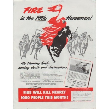 "1948 National Board of Fire Underwriters Ad ""Fifth Horseman"""