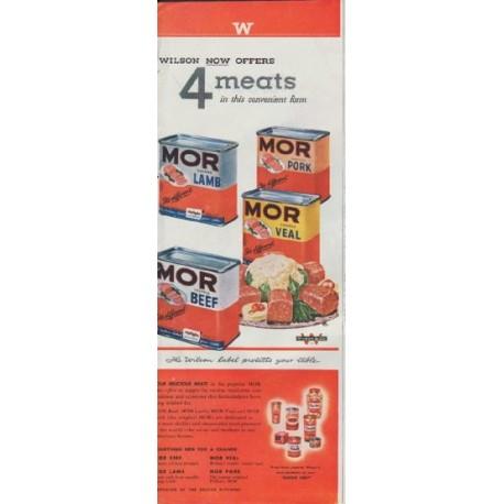 """1948 Wilson Meats Ad """"MOR Lamb Pork Veal Beef"""""""