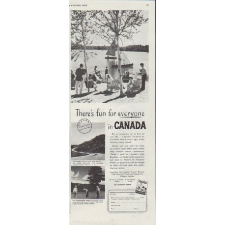"""1948 Canada Travel Ad """"There's fun for everyone"""""""