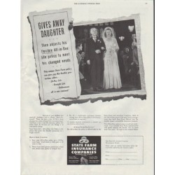 "1948 State Farm Insurance Ad ""Gives Away Daughter"""