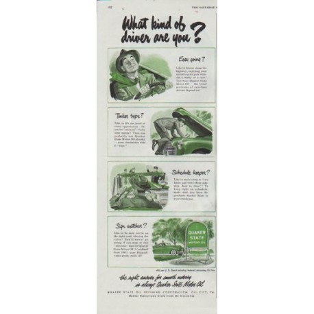 """1948 Quaker State Ad """"What kind of driver are you?"""""""
