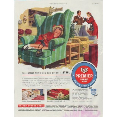"1948 United States Steel Ad ""The Softest Thing You Can Sit On Is Steel"""