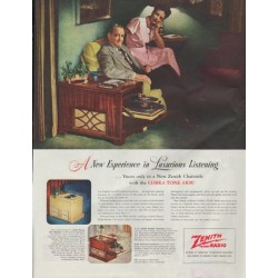 """1948 Zenith Ad """"A New Experience in Luxurious Listening"""""""