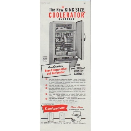 """1948 Coolerator Ad """"The New KING SIZE"""""""