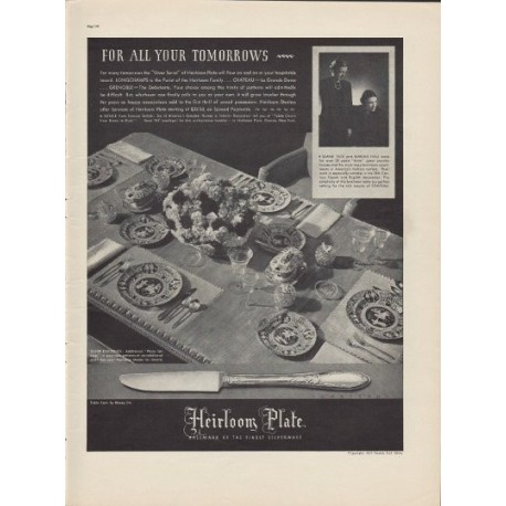 "1937 Heirloom Plate Silver Ad ""For All Your Tomorrows"""