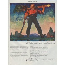 "1948 John Hancock Ad ""He built a country"""