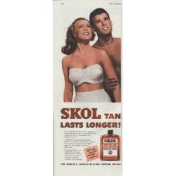 "1948 SKOL Suntan Lotion Ad ""Lasts Longer"""