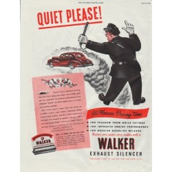 "1948 Walker Exhaust Silencer Ad ""Quiet Please!"""