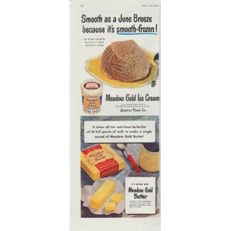 "1948 Meadow Gold Ad ""Smooth as a June Breeze"""