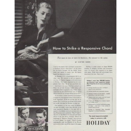 "1948 Holiday Magazine Ad ""How to Strike a Responsive Chord"""