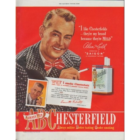 """1948 Chesterfield Cigarettes Ad """"I like Chesterfields"""""""