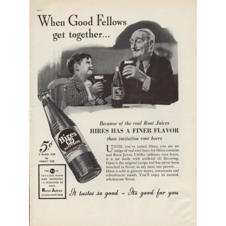 "1937 Hires Root Beer Ad ""Good Fellows"""