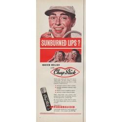 """1954 Chap Stick Ad """"Sunburned Lips?"""""""