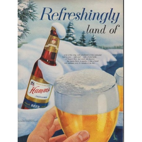 "1954 Hamm's Beer Ad ""Refreshingly Yours"""