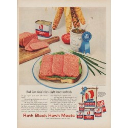 "1954 Rath Meats Ad ""Real farm fixin's"""