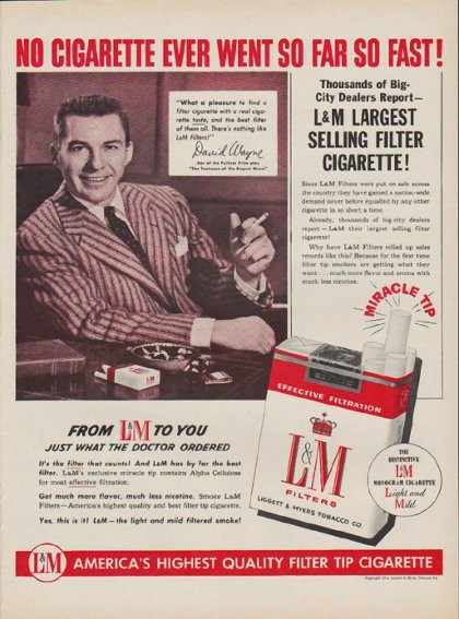 1954 LM Cigarettes Vintage Ad No Cigarette Ever Went So Far