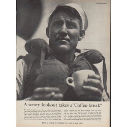 "1954 Pan-American Coffee Bureau Ad ""A weary lookout"""