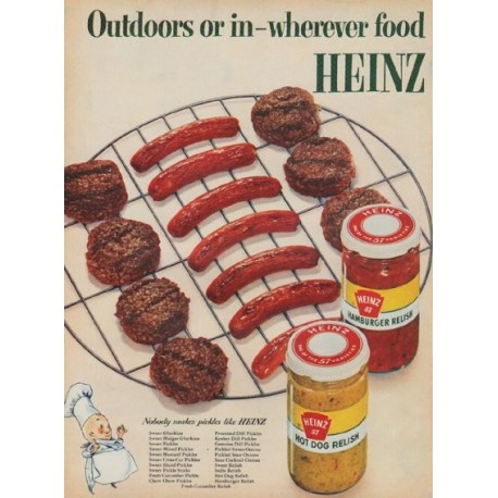 "1954 Heinz Ad ""Outdoors or in"""