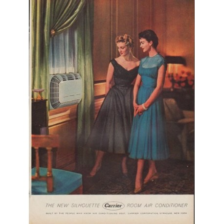 """1954 Carrier Air Conditioner Ad """"The New Silhouette"""""""